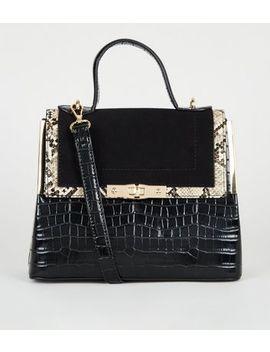 Black Faux Croc Top Handle Shoulder Bag by New Look