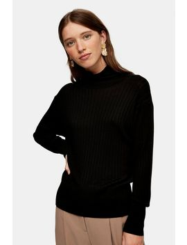 Black Boxy Funnel Knitted Top by Topshop