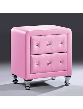 Stella Crystal Tufted Pink Leather Modern Nightstand by Baxton Studio