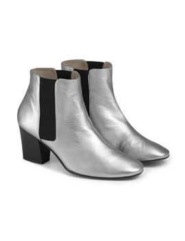 Silver Leather Chelsea Boot by Sosandar