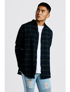 Long Sleeve Longline Flannel Check Shirt by Boohoo