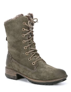 Sandra 93 Waterproof Sueded Leather Faux Fur Accent Combat Boot by Josef Seibel