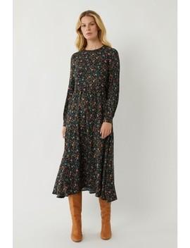 Warehouse Black Ditsy Paisley Tier Midi Dress by Next
