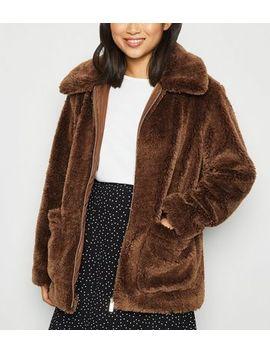 Petite Dark Brown Zip Up Teddy Jacket by New Look