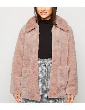 Petite Pink Zip Up Teddy Jacket by New Look