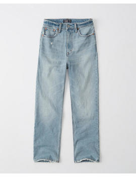 Ripped Ultra High Rise Ankle Straight Jeans by Abercrombie & Fitch