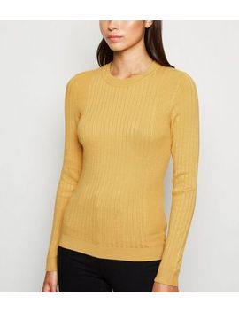 Mustard Ribbed Crew Neck Jumper by New Look