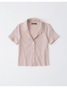 Ribbed Button Up Polo by Abercrombie & Fitch