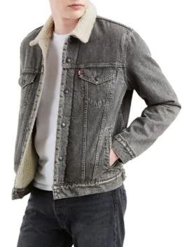 Faux Shearling Collar Denim Trucker Jacket by Levi's