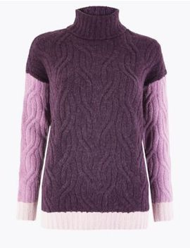 Cable Knit Colour Block Roll Neck Jumper by Marks & Spencer
