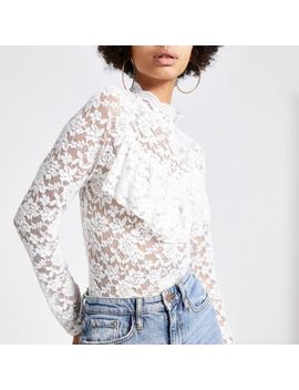 Cream Lace Long Sleeve Frill Top by River Island