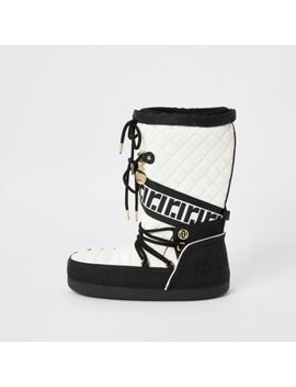 Cream Quilted Snow Boots by River Island
