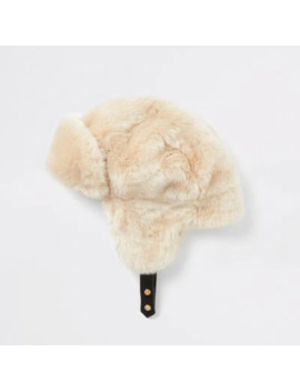 Beige Faux Fur Trapper Hat by River Island