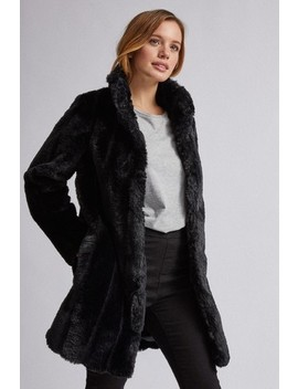 Dorothy Perkins Petite Longline Belted Faux Fur Coat by Next