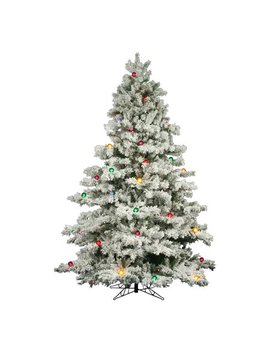 "Vickerman Artificial Christmas Tree 7.5' X 68"" Flocked Alaskan Dura Lt 800 Multi Color Lights/G50 / 2)Ctn by Vickerman"