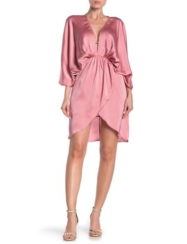 Plunging Neck Satin Dress by Do + Be