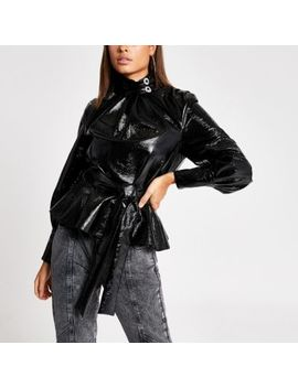 Black Faux Leather Tie Waist High Neck Blouse by River Island
