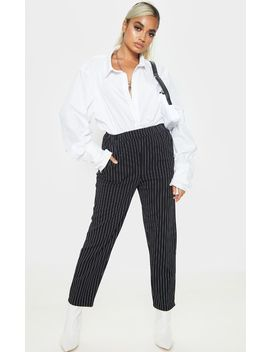 Petite Black Pinstripe Crepe Trouser  by Prettylittlething