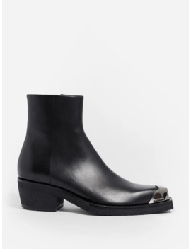 Cal Clute Black Leather Boot Metal Toe by Calvin Klein 205 W39 Nyc  ×