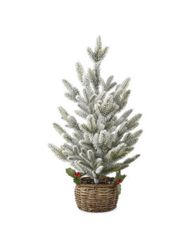 """North Pole Trading Co. Snowy Day 24"""" Flocked Pine Tree Tabletop Decor by North Pole Trading Co"""