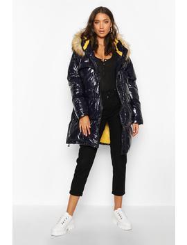 Tall Faux Fur Hood High Shine Padded Coat by Boohoo