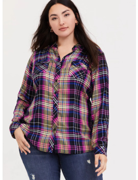 Taylor   Multi Plaid Twill Button Front Camp Shirt by Torrid