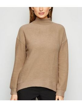 Camel Brushed High Neck Jumper by New Look