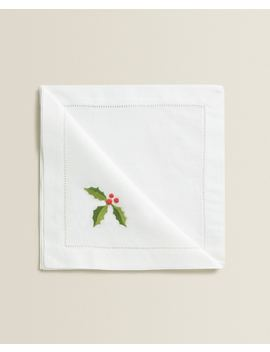 Embroidered Holly Napkins (Pack Of 2) Table Linen   Dining   Christmas by Zara Home