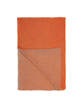 John Lewis & Partners Rib Knit Throw, Clementine by John Lewis & Partners