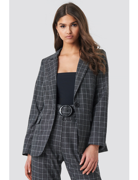 Big Check Straight Fitted Blazer Grey by Nakdclassic