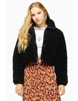 Black Cropped Borg Padded Puffer Jacket by Topshop