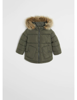 Faux Fur Hood Quilted Coat by Mango
