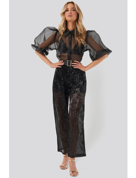 Sequin Straight Pant Schwarz by Na Kd Party