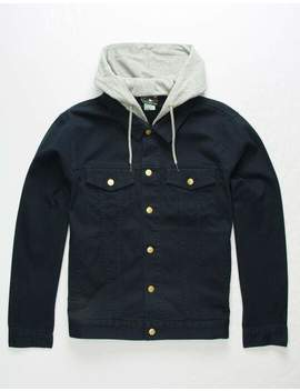 Lrg Hooded 2 Fer Navy Mens Denim Jacket by Lrg
