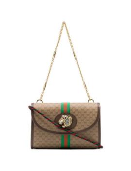 Beige Rajah Supreme Mini Gg Print Canvas Leather Trim Shoulder Bag by Gucci