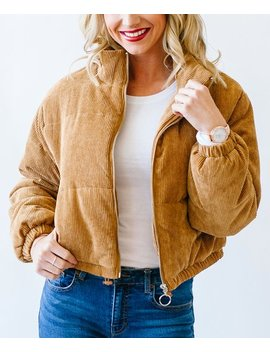 Camel Corduroy Zip Up Puffer Jacket   Women by Coco &Amp; Main