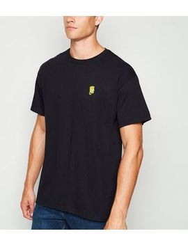 Black Embroidered Bart Simpson T Shirt by New Look