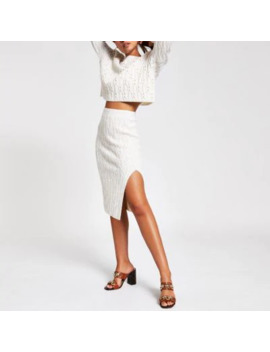 Cream Cable Knit Midi Skirt by River Island