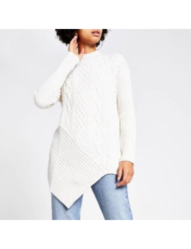 Cream Cable Knit Turtle Neck Jumper by River Island
