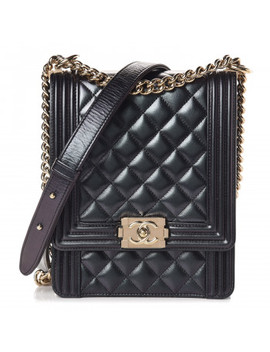 Chanel Iridescent Calfskin Quilted North South Boy Flap Black by Chanel