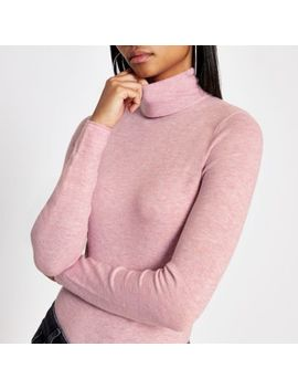 Pink Long Sleeve Roll Neck Knitted Top by River Island
