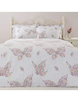 Floral Butterfly Pink Reversible Duvet Cover And Pillowcase Set by Dunelm