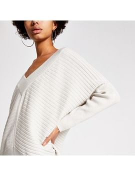 Cream V Neck Ribbed Knitted Jumper by River Island