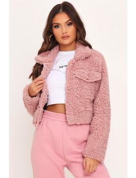 Dusky Pink Teddy Borg Trucker Jacket by I Saw It First