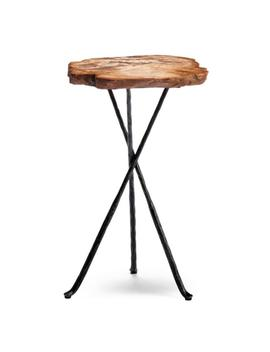 """Large (16 1/2"""" Dia.) Petrified Wood Tripod Table by Frontgate"""