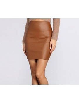 Coated Faux Leather Mini Skirt by Windsor