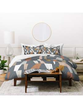 Deny Designs Neutral Geometric Duvet Cover Set (3 Piece Set) by Deny Designs