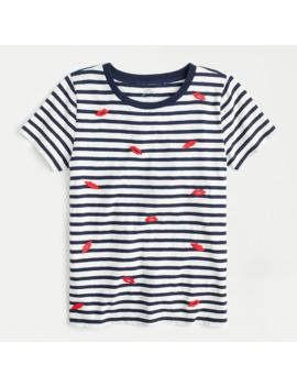 """Kisses"" Striped Crewneck T Shirt In Vintage Cotton by J.Crew"