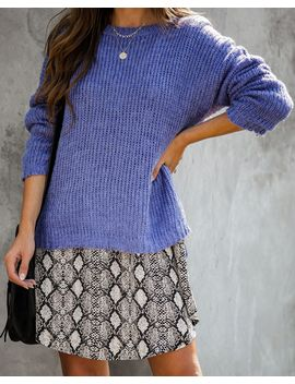 Fueled By Coffee Knit Sweater   Cobalt Blue by Vici