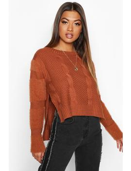 Fluffy Sleeve Cable Knit Jumper by Boohoo